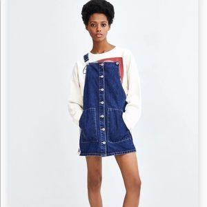 Zara Denim Buttoned Pinafore Overall Dress